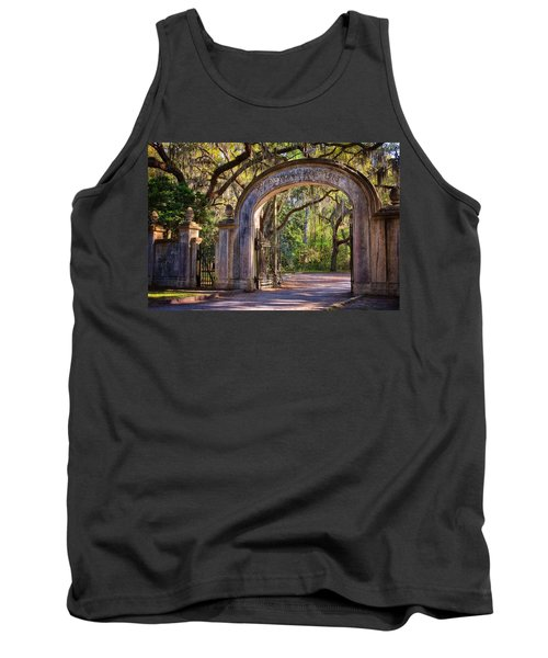 Tank Top featuring the photograph Wormsloe Plantation Gate by Joan Carroll
