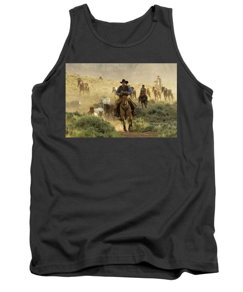Wrangling The Horses At Sunrise  Tank Top