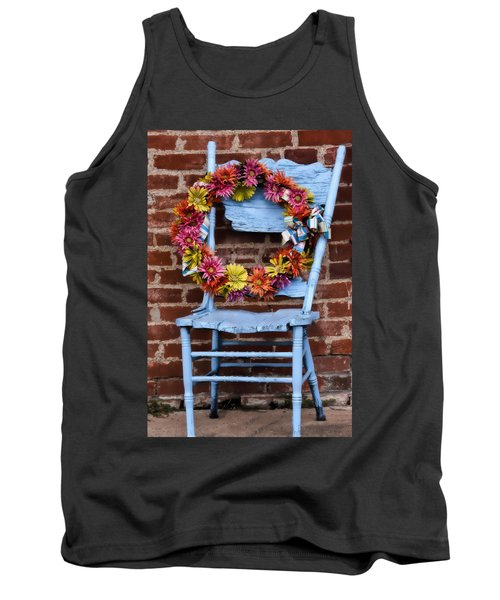 Tank Top featuring the photograph Wreath In A Chair by Joan Bertucci