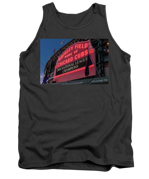 Wrigley Field Marquee Cubs National League Champs 2016 Tank Top by Steve Gadomski