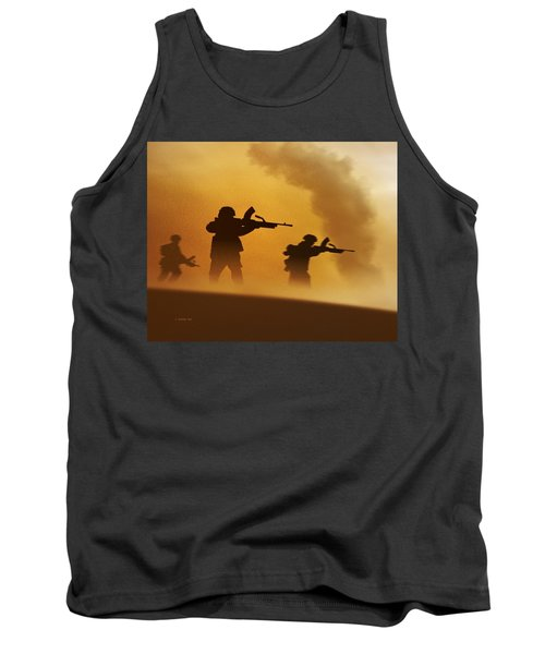 Tank Top featuring the digital art Ww2 British Soldiers On The Attack by John Wills