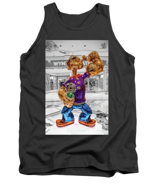 Wynn Popeye Statue Black White And Color By Jeff Koons Tank Top