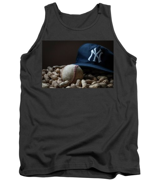 Tank Top featuring the photograph Yankee Cap Baseball And Peanuts by Terry DeLuco