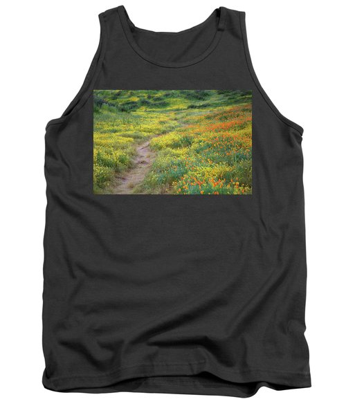 Tank Top featuring the photograph Yellow And Orange Wildflowers Along Trail Near Diamond Lake by Jetson Nguyen
