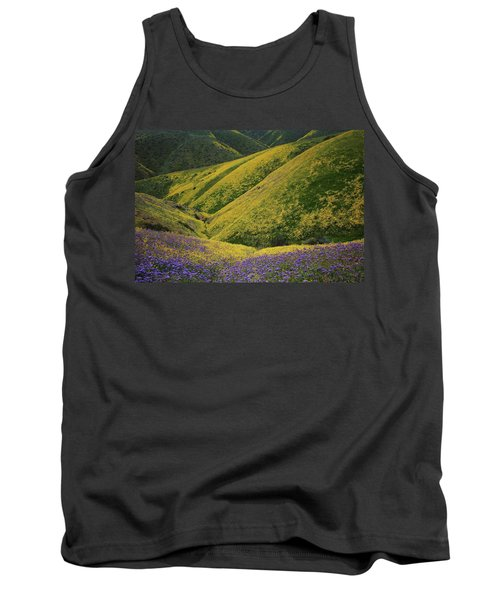 Yellow And Purple Wildlflowers Adourn The Temblor Range At Carrizo Plain National Monument Tank Top by Jetson Nguyen