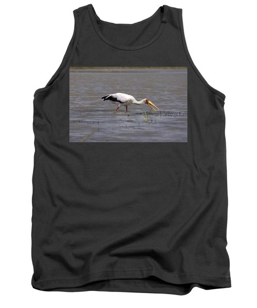 Yellow Billed Stork Wading In The Shallows Tank Top by Aidan Moran