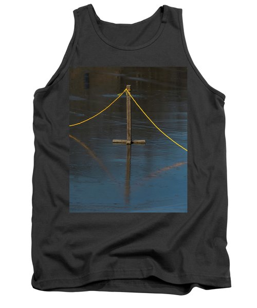 Tank Top featuring the photograph Yellow Boundary On Ice by Gary Slawsky