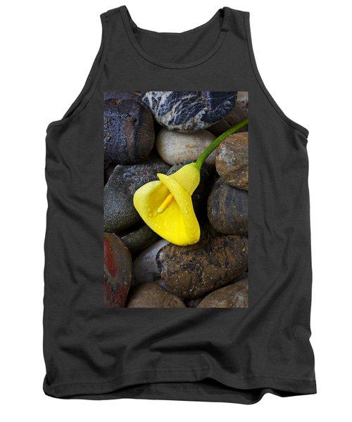 Yellow Calla Lily On Rocks Tank Top