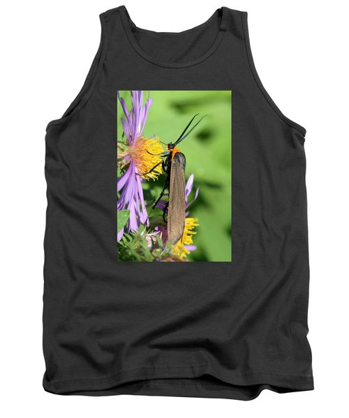 Tank Top featuring the photograph Yellow-collared Scape Moth by Doris Potter