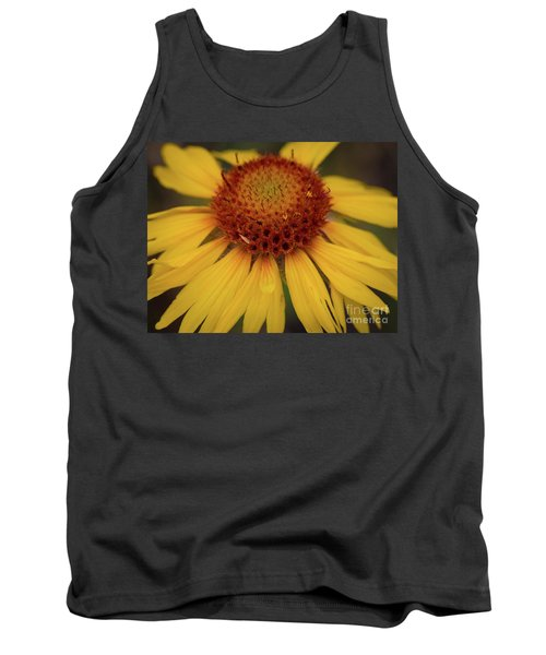 Yellow Cone Flower Tank Top by John Roberts