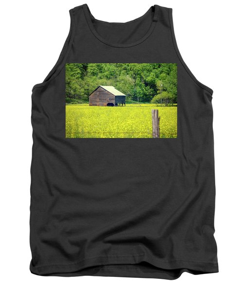 Yellow Field Rustic Shed Tank Top