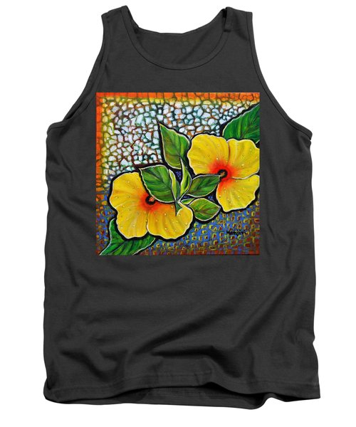 Yellow Hibiscus A Decorative Painting With Mosaic Style On Sale Tank Top