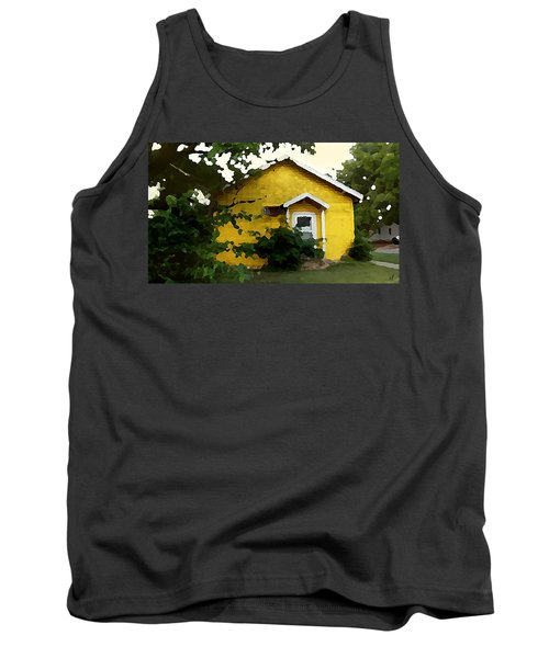 Tank Top featuring the digital art Yellow House In Shantytown  by Shelli Fitzpatrick