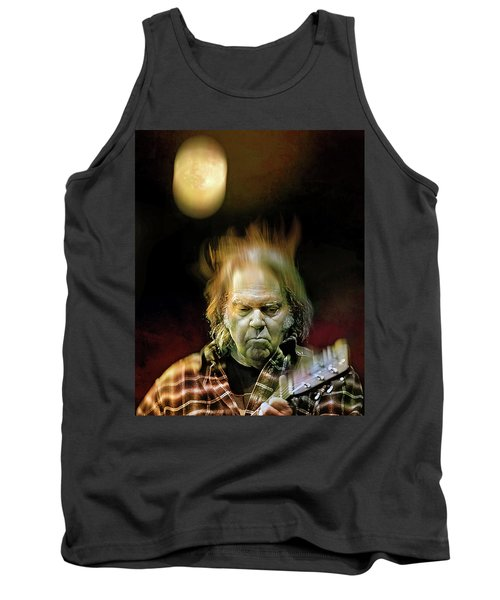 Yellow Moon On The Rise Tank Top by Mal Bray