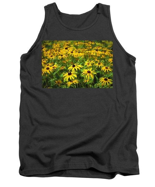 Yellow Painted Petals Tank Top
