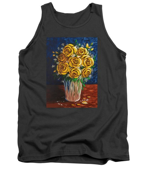 Tank Top featuring the painting Yellow Roses by Katherine Young-Beck