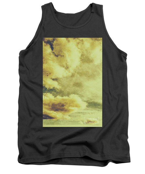 Yellow Toned Textured Grungy Cloudscape Tank Top