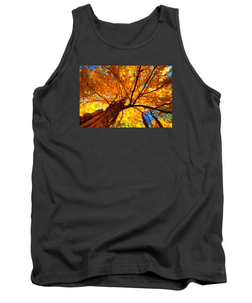 Yellow Tree Tank Top by Andre Faubert