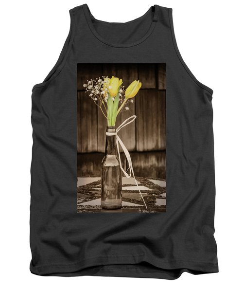 Tank Top featuring the photograph Yellow Tulips In Glass Bottle Sepia by Terry DeLuco