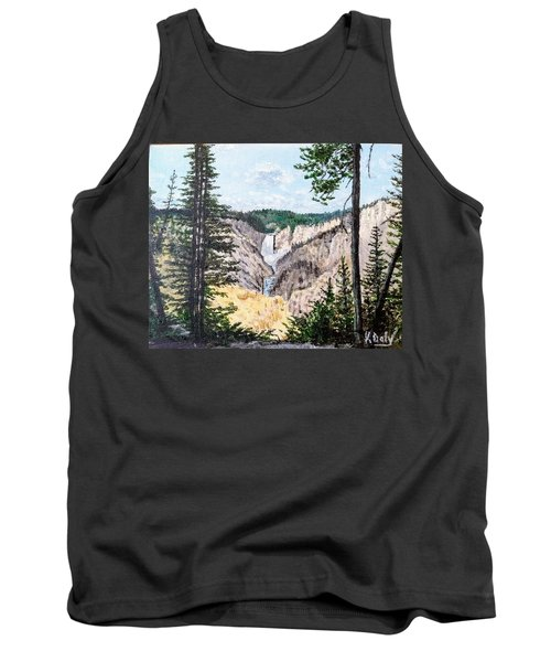 Tank Top featuring the painting Yellowstone Falls by Kevin Daly