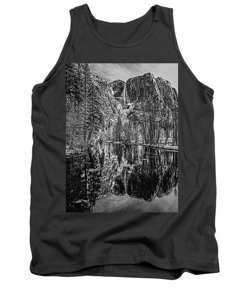 Tank Top featuring the photograph Yosemite Falls From The Swinging Bridge In Black And White by Bill Gallagher