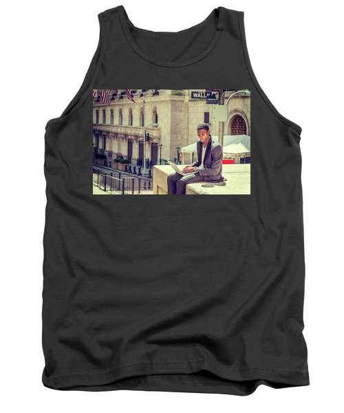 Young African American Man Working On Wall Street In New York Tank Top