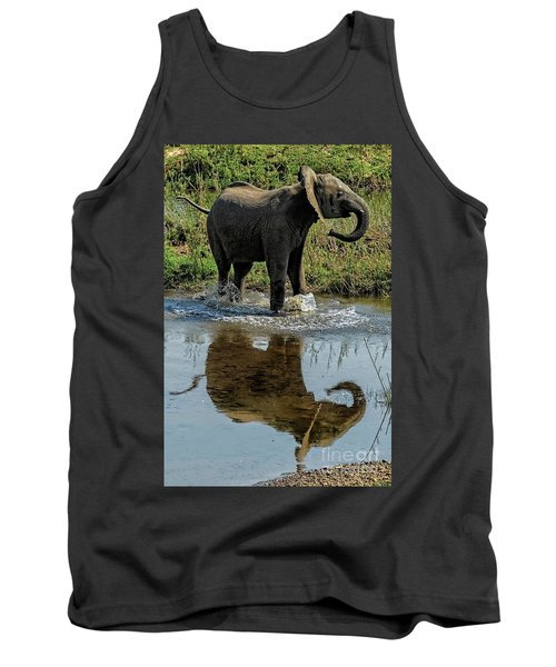 Young Elephant Playing In A Puddle Tank Top