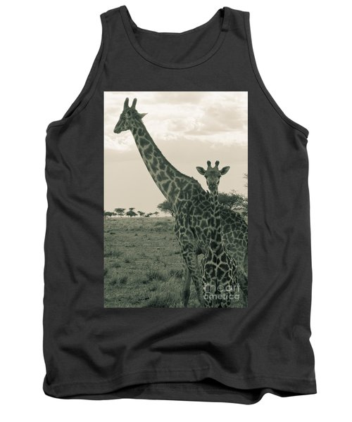 Young Giraffe With Mom In Sepia Tank Top by Darcy Michaelchuk
