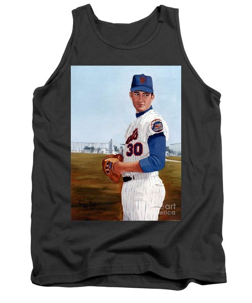 Tank Top featuring the painting Young Nolan Ryan - With Mets by Rosario Piazza