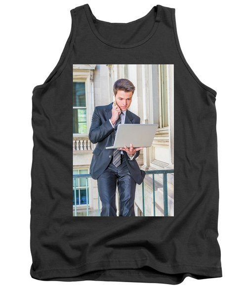 Young School Boy Working Remotely 15042510 Tank Top