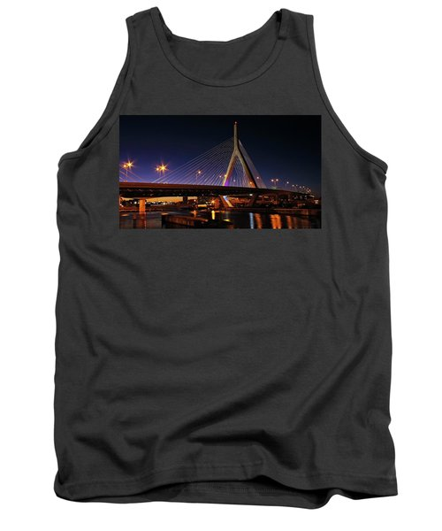 Zakim Bridge Boston Massachusetts At Night Tank Top