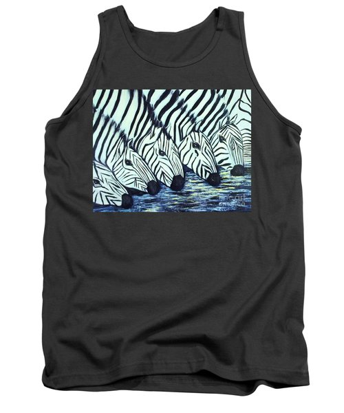 Tank Top featuring the painting Zebra Line by Donna Dixon