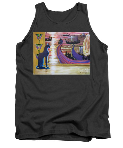 Tank Top featuring the painting Zig Of Blaa Kattproduksjoner   Inspects The Ships by Sigrid Tune