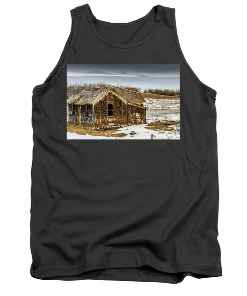 Abondened Old Farm Houese And Estates Dot The Prairie Landscape, Tank Top