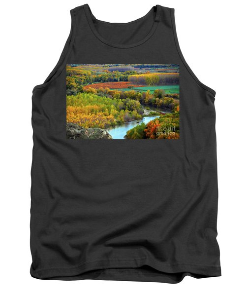 Autumn Colors On The Ebro River Tank Top