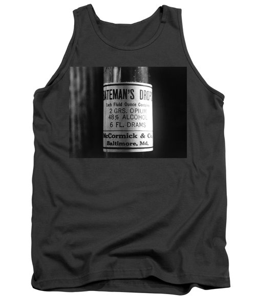 Antique Mccormick And Co Baltimore Md Bateman's Drops Opium Bottle Label - Black And White Tank Top