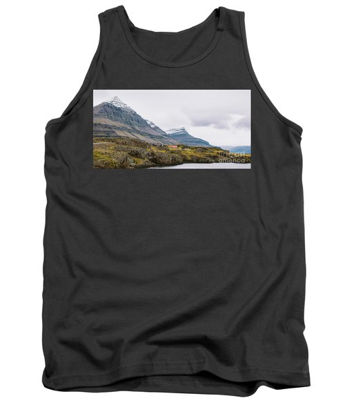 High Icelandic Or Scottish Mountain Landscape With High Peaks And Dramatic Colors Tank Top