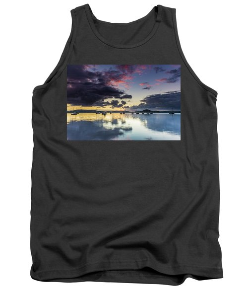 Overcast Morning On The Bay With Boats Tank Top