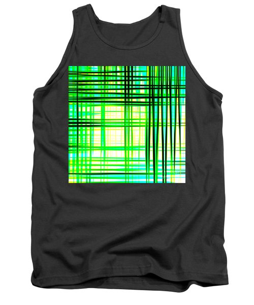 Abstract Design With Lines Squares In Green Color Waves - Pl409 Tank Top