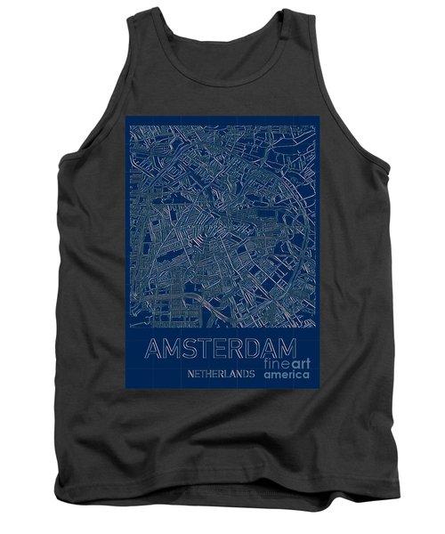 Amsterdam Blueprint City Map Tank Top