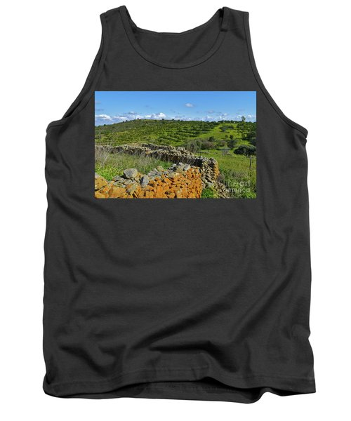 Antique Stone Wall Of An Old Farm Tank Top