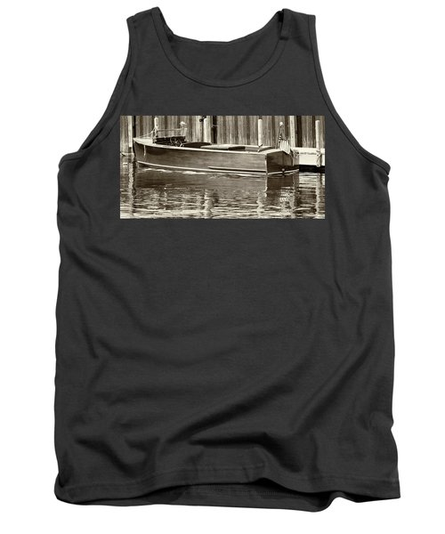 Antique Wooden Boat By Dock Sepia Tone 1302tn Tank Top