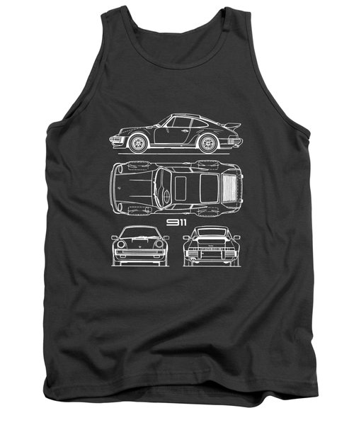 Porsche 911 Turbo Blueprint - Gray Tank Top