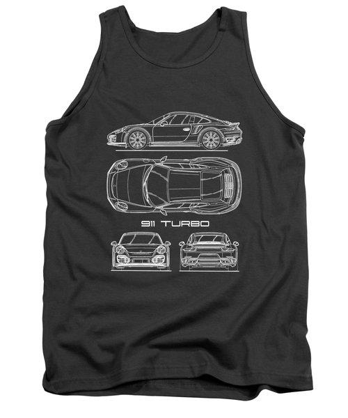 911 Turbo 991 Blueprint Tank Top