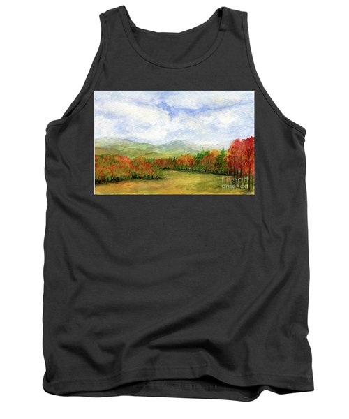Autumn Day Watercolor Vermont Landscape Tank Top