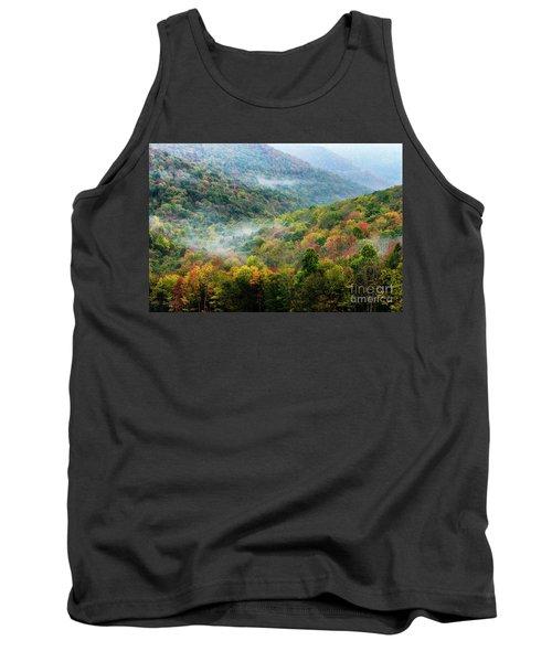 Autumn Hillsides With Mist Tank Top