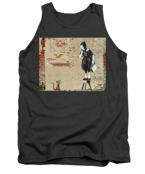 Banksy New Orleans Girl And Mouse Tank Top