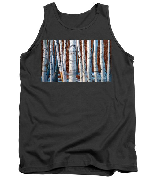 Tank Top featuring the painting Birch Trees In Early Winter In Painting by Christopher Shellhammer