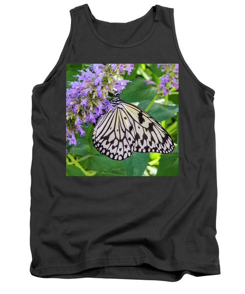 Black And White On Purple Tank Top