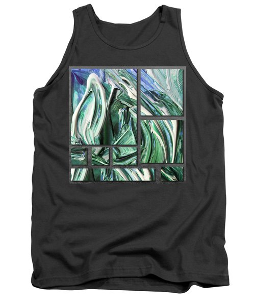 Blue Green Gray Abstract Collage Tank Top